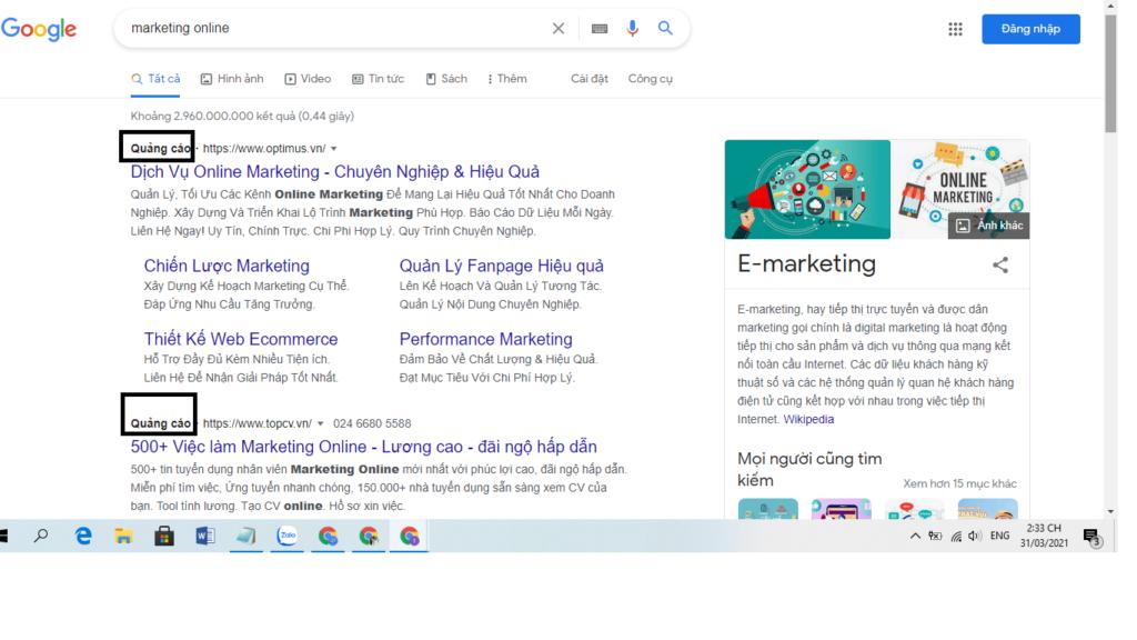 Ví dụ về kết quả google trả phí